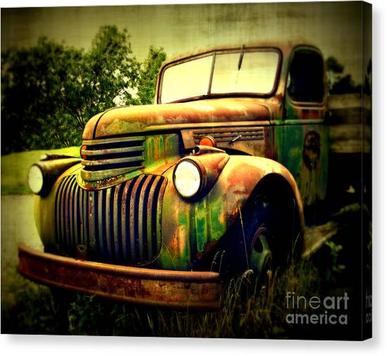 Chevy Truck Canvas Print - Old Flatbed 2 by Perry Webster