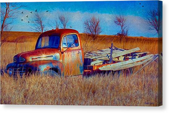 Old Ford F5 Truck Abandoned In Field Canvas Print