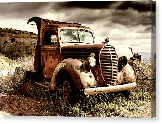 Old Ford Truck In Desert Canvas Print