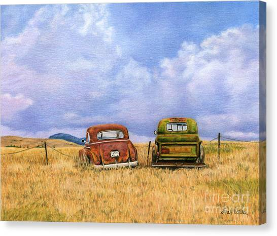 Rusty Truck Canvas Print - Two Old Friends  by Sarah Batalka