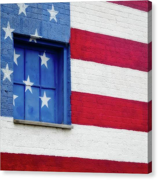 Old Glory, American Flag Mural, Street Art Canvas Print