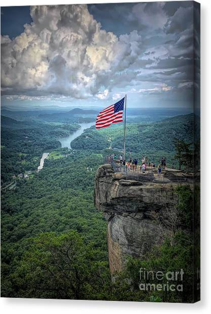 Old Glory On The Rock Canvas Print
