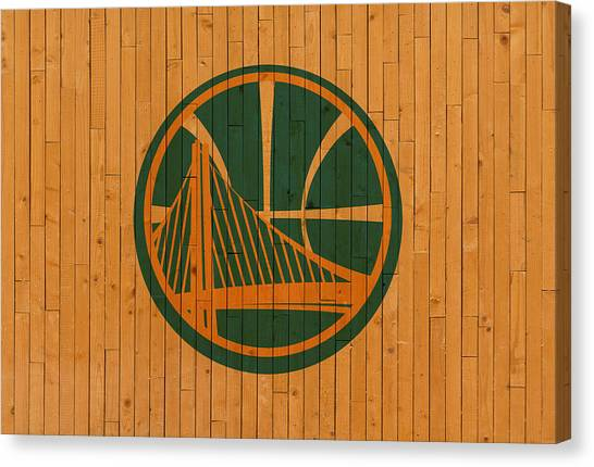 Golden State Warriors Canvas Print - Old Golden State Warriors Basketball Gym Floor by Design Turnpike