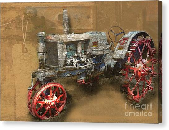 Old Grey Tractor Canvas Print