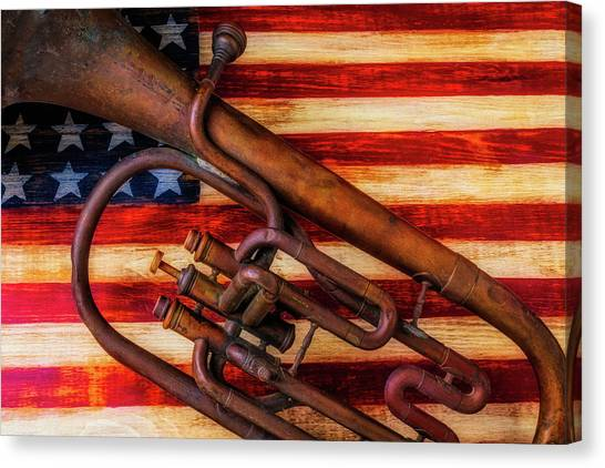 Gay Flag Canvas Print - Old Horn On American Flag by Garry Gay