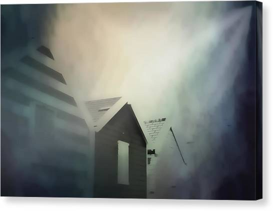 Murky Canvas Print - Old Huts In The Mist - Digital Watercolour by Tom Gowanlock