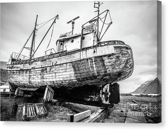 Ashes Canvas Print - Old Icelandic Fishing Ship In Dry Dock by Edward Fielding