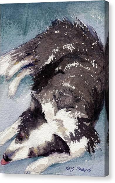 Watercolor Pet Portraits Canvas Print - Old Jack by Kris Parins