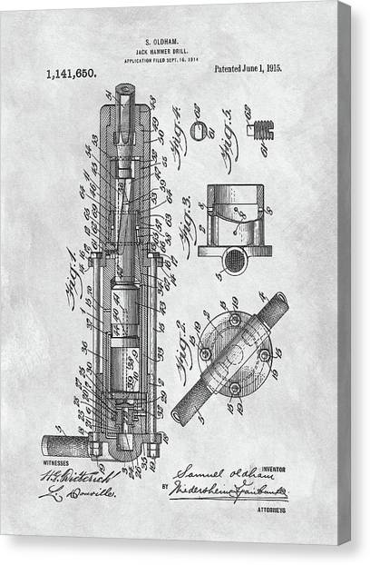 Jackhammers Canvas Print - Old Jackhammer Patent by Dan Sproul
