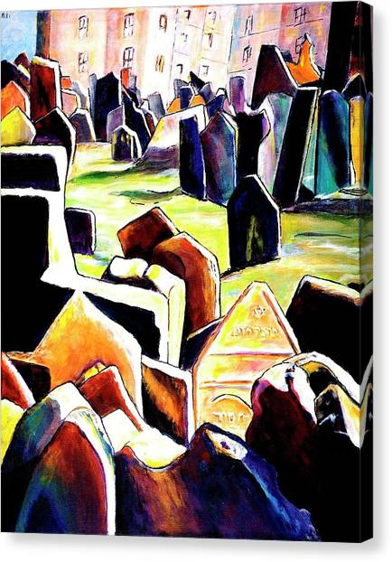 Old Jewish Cemetary In Prague Canvas Print