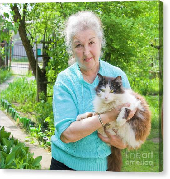 Old Lady With Cat Canvas Print