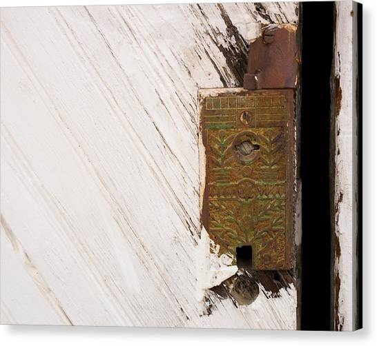 Canvas Print featuring the photograph Old Lock On Garage Door by Dutch Bieber
