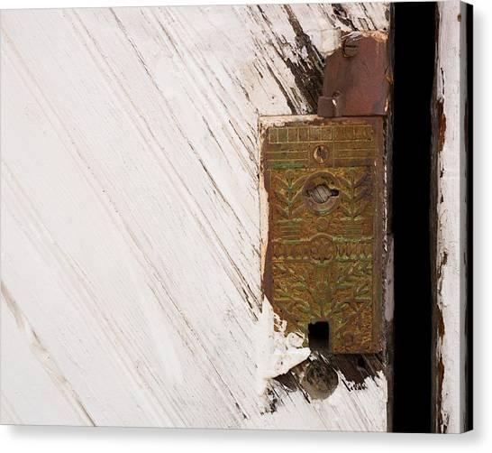 Old Lock On Garage Door Canvas Print