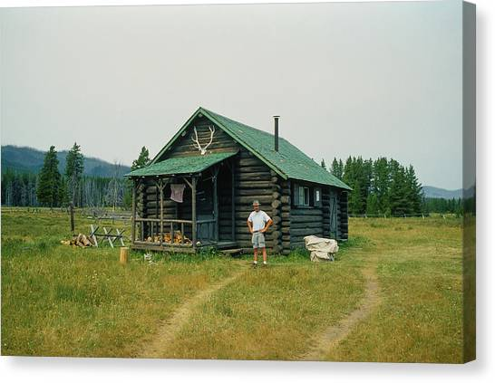 Bob Marshall Wilderness Canvas Print   Old Log Forest Service Cabin, Bob  Marshall Wilderness,