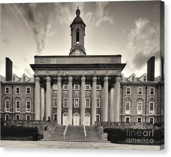Pennsylvania State University Canvas Print - Old Main At Dusk, University Park, Pa by Steve Vallotton
