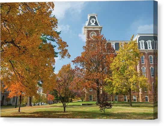 University Of Arkansas University Of Arkansas Canvas Print - Old Main At The University Of Arkansas During Fall by Gregory Ballos