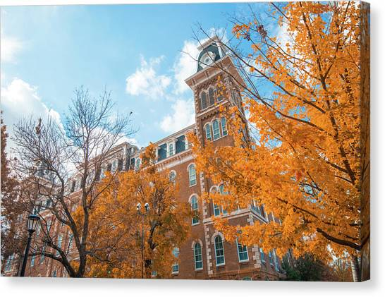 University Of Arkansas University Of Arkansas Canvas Print - Old Main During Autumn - University Of Arkansas - Fayetteville by Gregory Ballos