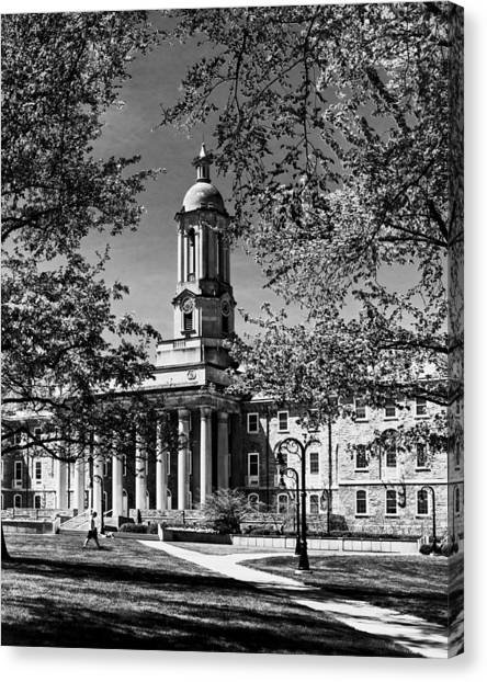 Pennsylvania State University Canvas Print - Old Main In Black And White by Tom Gari Gallery-Three-Photography