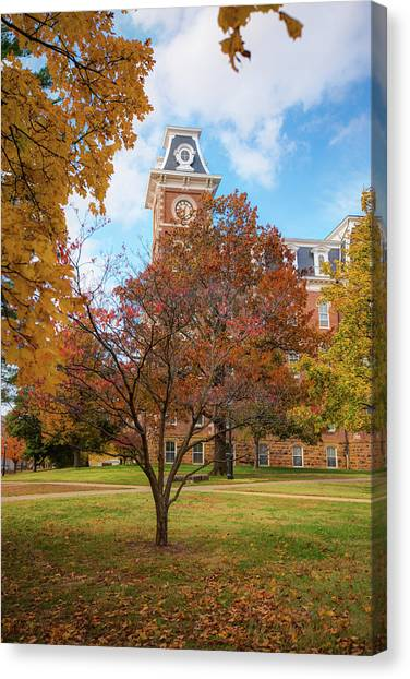 University Of Arkansas University Of Arkansas Canvas Print - Old Main On The University Of Arkansas Campus - Autumn In Fayetteville by Gregory Ballos