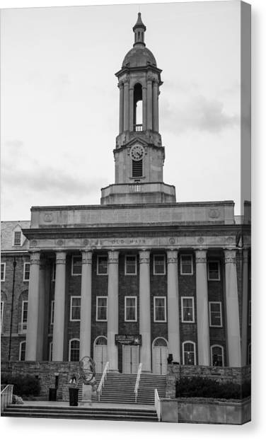 Penn State University Canvas Print - Old Main Penn State Black And White by John McGraw