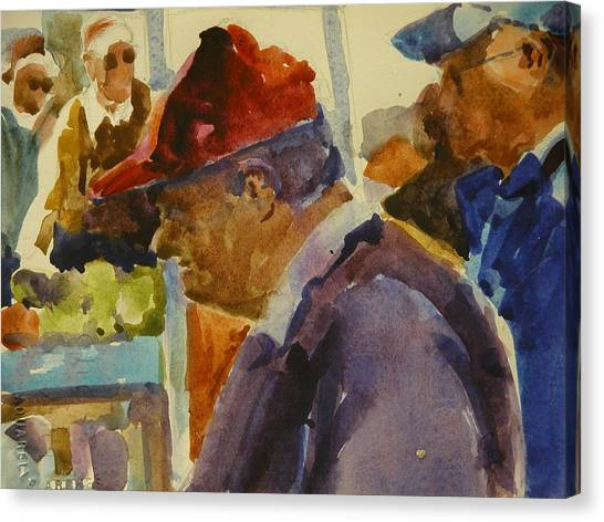 Old Man At The Market Canvas Print by Walt Maes
