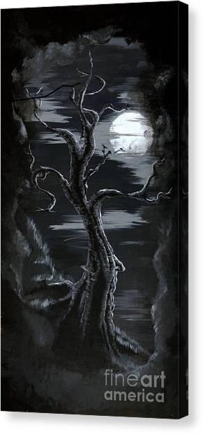 Old Man Tree And Goddess Moon Canvas Print