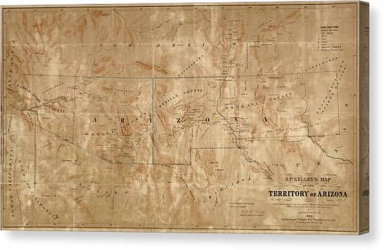 New Mexico Map Canvas Print - Old Map Of Arizona And New Mexico By Arthur De Witzleben - 1860 by Blue Monocle