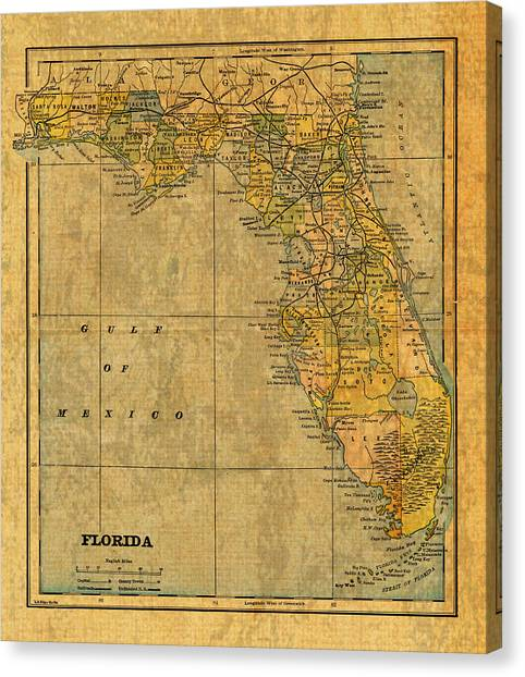 Florida Map Canvas Print - Old Map Of Florida Vintage Circa 1893 On Worn Distressed Parchment by Design Turnpike