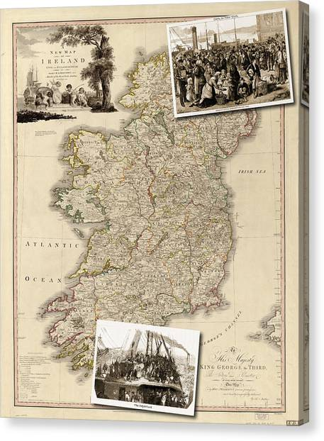 Vintage Map Of Ireland With Old Irish Woodcuts Canvas Print