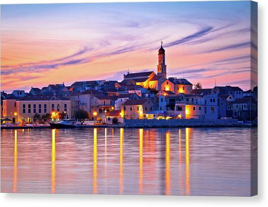 Old Mediterranean Town Of Betina Sunset View Canvas Print
