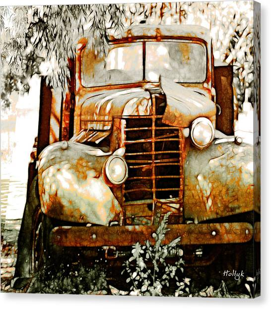 Rusty Truck Canvas Print - Old Memories Never Die by Holly Kempe