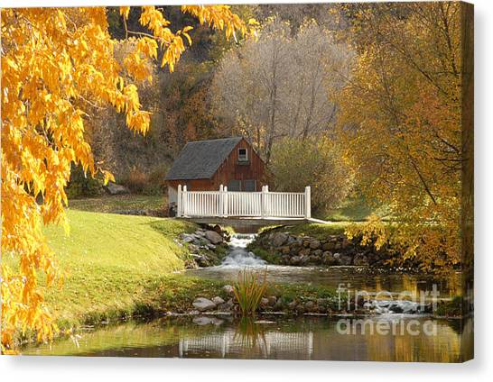 Old Mill In Autumn Canvas Print by Dennis Hammer