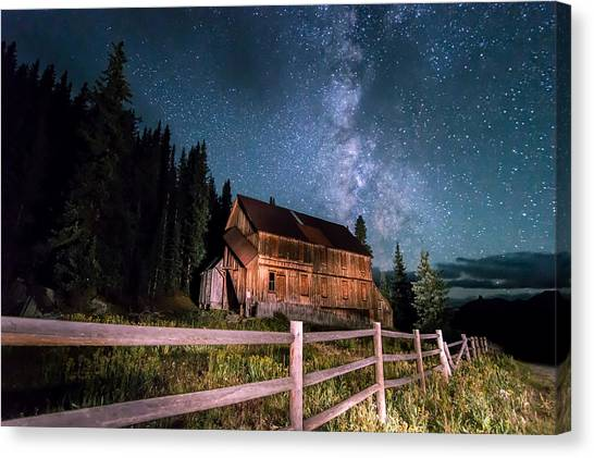 Trail Canvas Print - Old Mining Camp Under Milky Way by Michael J Bauer
