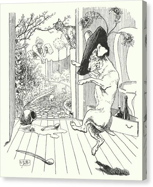 Nursery Rhyme Canvas Print - Old Mother Hubbard by Leonard Leslie Brooke