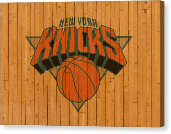 New York Knicks Canvas Print - Old New York Knicks Basketball Gym Floor by Design Turnpike