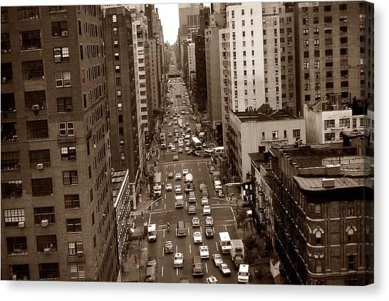 Old New York Photo - 10th Avenue Traffic Canvas Print