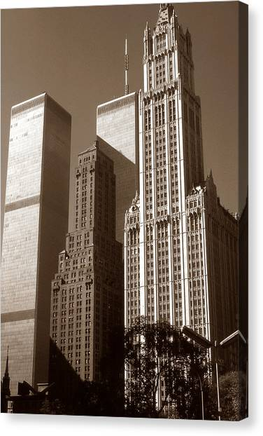 Old New York Photo - Woolworth Building And World Trade Center Canvas Print