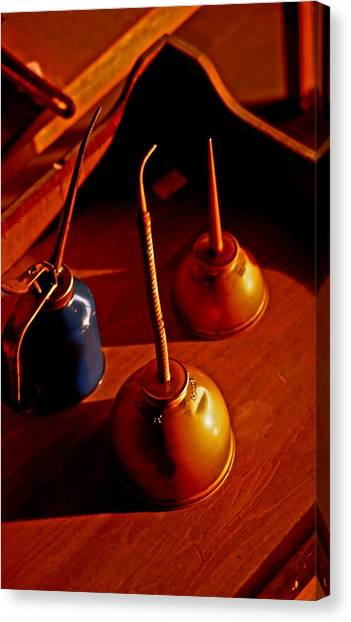 Old Oil Cans Canvas Print
