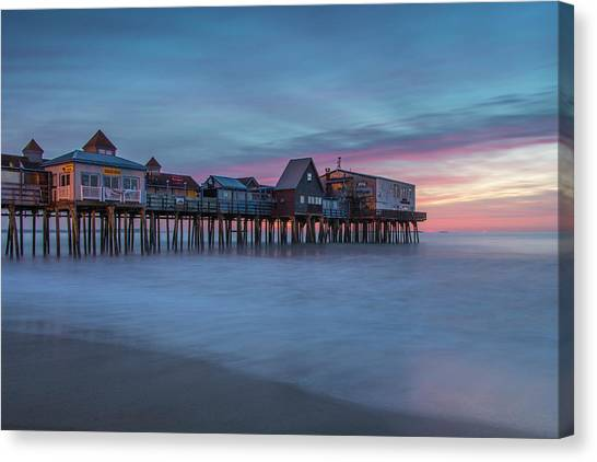 Old Orcharch Beach Pier Sunrise Canvas Print