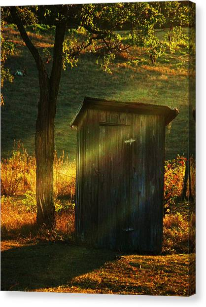 Old Outhouse At Sunset Canvas Print