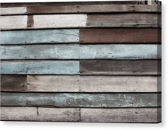 Old Pale Wood Wall Canvas Print