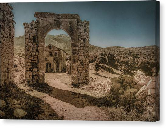 Canvas Print featuring the photograph Old Perithia, Corfu, Greece - Gate by Mark Forte