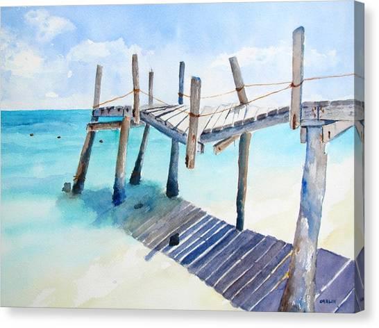 Old Pier On Playa Paraiso Canvas Print