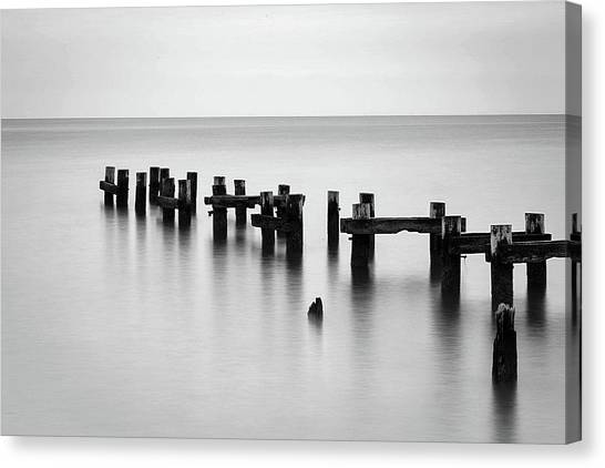 Old Pilings Black And White Canvas Print