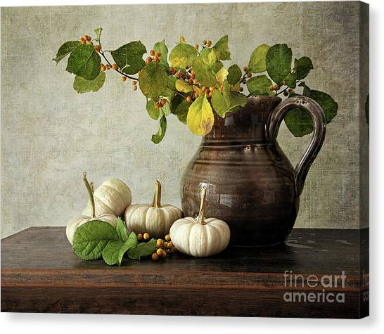 Old Pitcher Canvas Print - Old Pitcher With Gourds by Sandra Cunningham