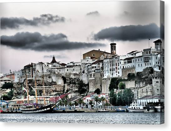 Old Port Mahon And Italian Sail Training Vessel Palinuro Hdr Canvas Print