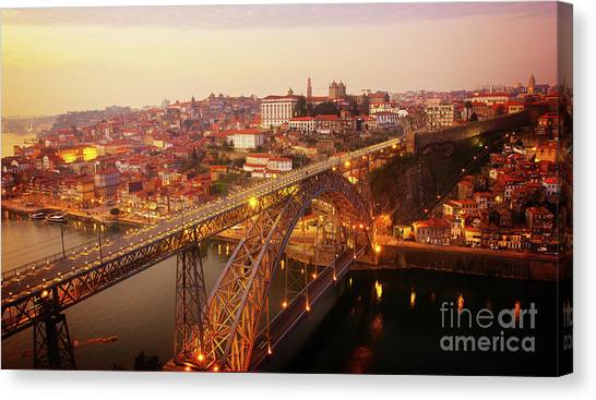 old Porto at  Pink Sunset, Portugal Canvas Print