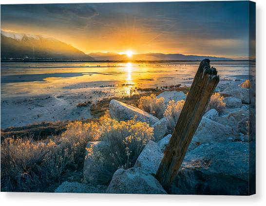 City Sunsets Canvas Print - Old Post At The Great Salt Lake by James Udall