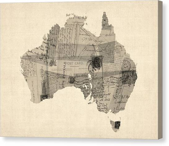 Geography Canvas Print - Old Postcard Map Of Australia Map by Michael Tompsett