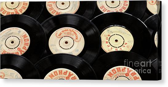 Jukebox Canvas Print - Old Records Mug by Edward Fielding